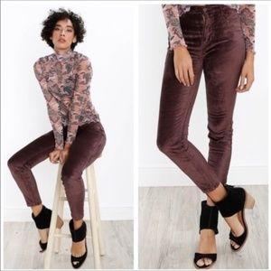 FREE PEOPLE Velvet Skinny Mulberry Pants Size 25